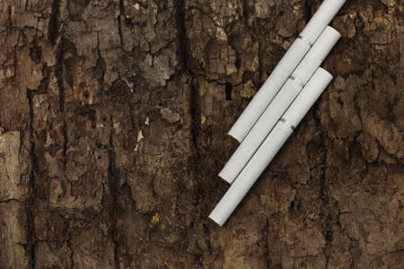 Close up cigarette on tree bark background, Quit Smoking, Stop Smoking Cigarette Concept.