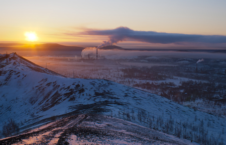 Sunset in the city of Karabash