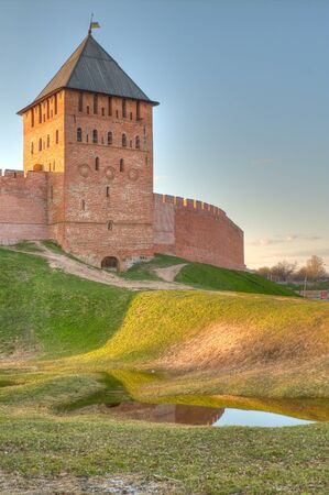 Tower and wall of Novgorod Kremlin Stock Photo