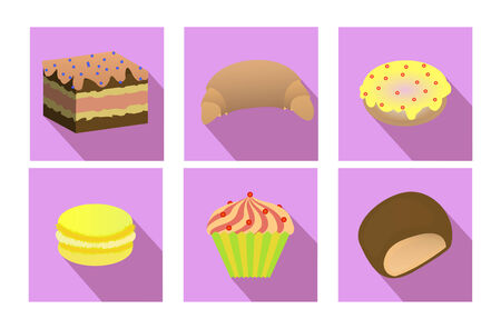 macaroni: flat set of baking: cupcake, cake, macaroni, cookies, biscuit, croissant