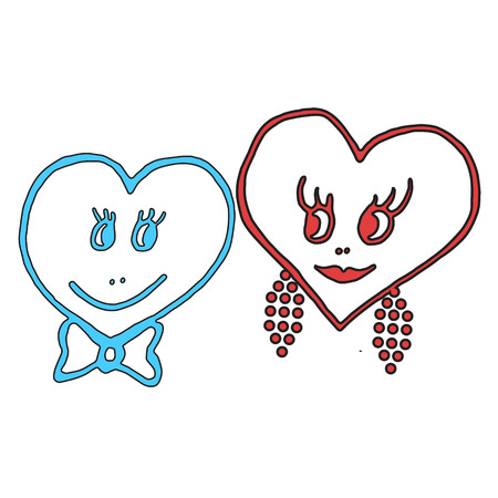 Hand-drawn hearts for valentines day. Vector illustration Vector