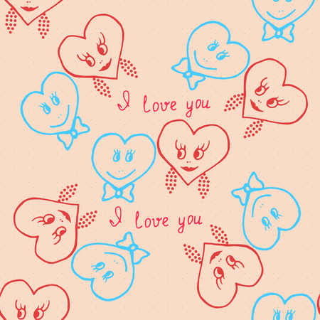 marriage cartoon: Seamless pattern. Hand-drawn hearts for valentines day. Vector illustration Illustration