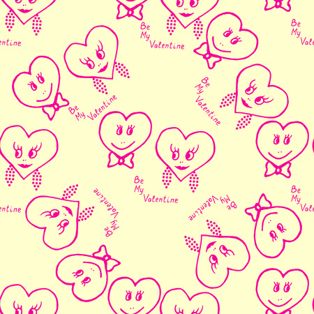 Seamless pattern. Hand-drawn hearts for valentines day. Vector illustration Vector