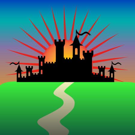 fantasy castle: Fantasy castle in the morning. Vector illustration Illustration