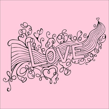 handdrawn: Hand-Drawn LOVE. Vector Illustration Illustration