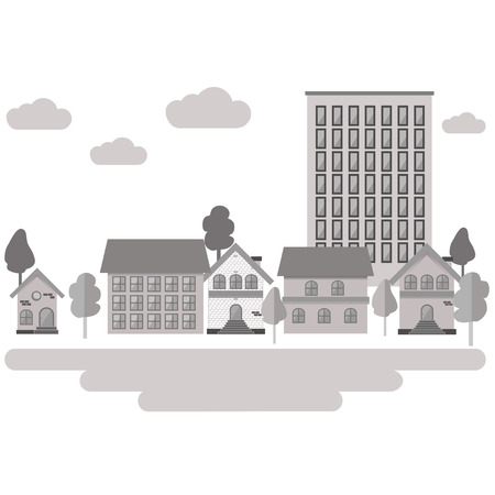 sity: Day in sity. Buildings and trees. Flat style. Vector illustration