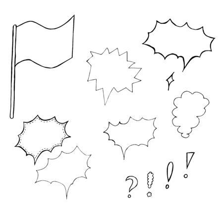 handdrawn: Hand-drawn Speech bubbles. Vector illustration