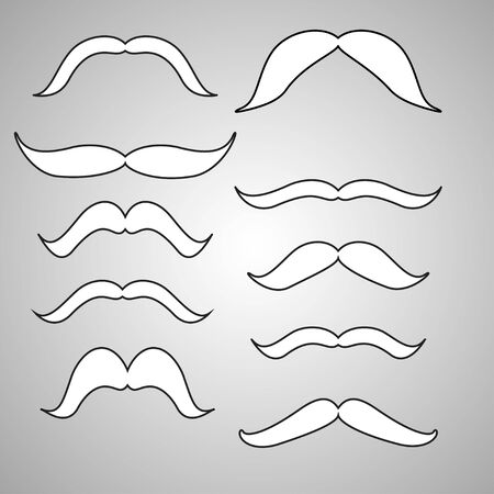 black head and moustache: Set of mustache (mustache collection), retro style, vector illustration Illustration