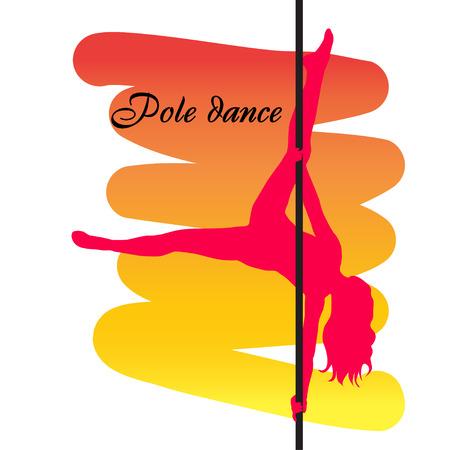 Bailarina de Polo con el pelo largo en el poste en el fondo rojo amarillo. Ilustración vectorial