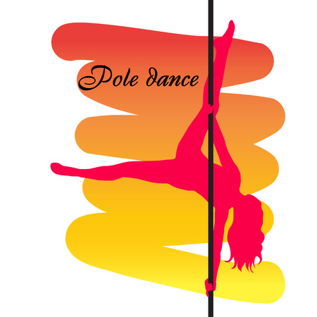 Pole dancer with long hair  on the pole  on the yellow  red background. Vector illustration