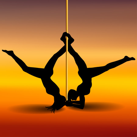 flexible sexy: Two Pole dancers with long and short hair  on the pole  on the yellow & red background. Vector illustration Illustration