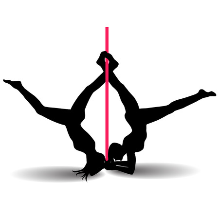 flexible sexy: Two Pole dancers with long and short hair  on the pole  isolated on the white background. Vector illustration