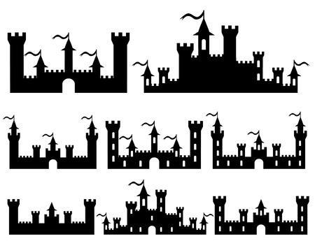 castillos: Juego de Fantasía castillos siluetas para el diseño. Ilustración vectorial Vectores