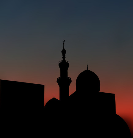 minarets: After sunset mosque. landscape with beautiful mosques and minarets. Vector illustration   Illustration