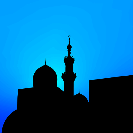 minarets: night landscape with beautiful mosques and minarets of the month. Vector illustration   Illustration