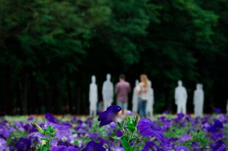 KHARKOV, UKRAINE - 20 JUNE: exhibition of invisible people in Shevchenko Park.  Kharkov city Kharkov (Ukraine) Usual weekend  June 2015 Flowers in first and Blurred people on background Editorial