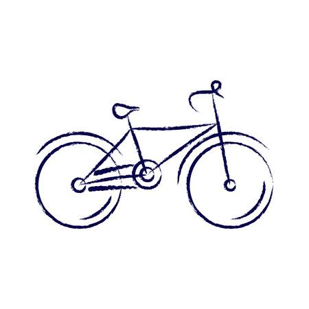 deportes caricatura: bicicleta estilizada, dibujo con tiza. ilustraci�n vectorial
