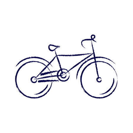 sport cartoon: stylized bicycle, drawing with chalk. vector illustration