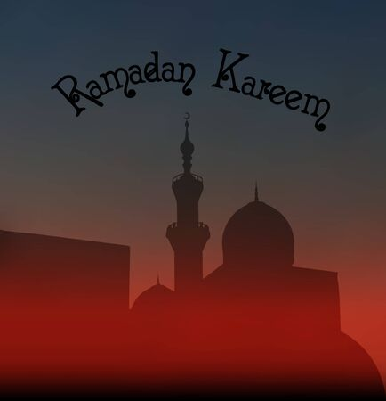 your text here: After sunset mosque. landscape with beautiful mosques and minarets. Place your text here. Ramadan kareem. Vector illustration Stock Photo