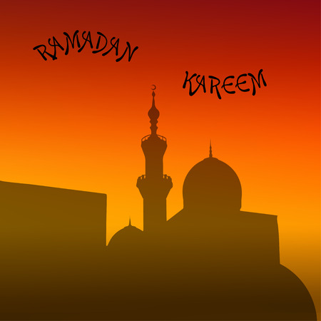 minarets: sunset mosque. landscape with beautiful mosques and minarets. Place your text. Ramadan Kareem. Vector illustration