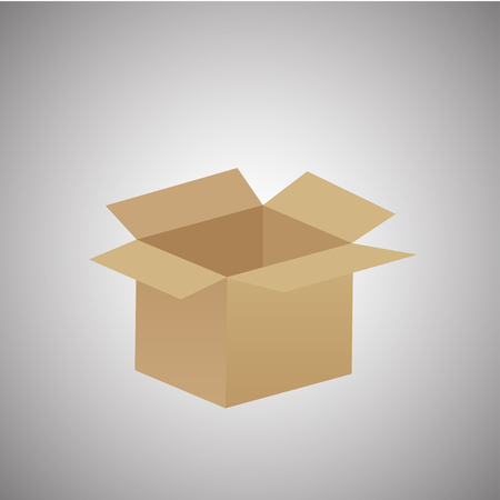 paperboard packaging: empty cardboard box opened isolated on grey background - eps10. vector illustration