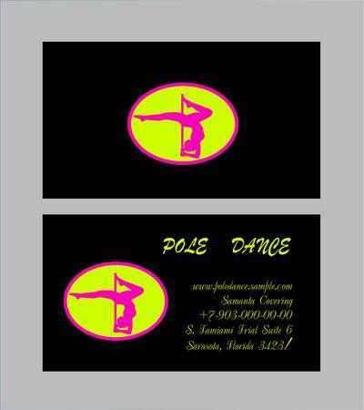 pole dancer: Pole Dance School Corporate Templates. Document, Flyer, Business Card. Vector illustration