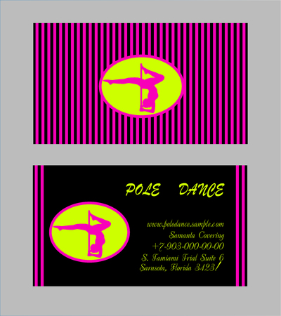 dance school: Pole Dance School Corporate Templates. Document, Flyer, Business Card. Vector illustration