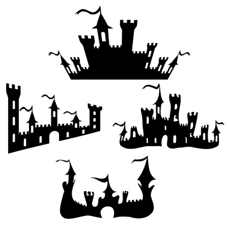 Vector black castle silhouettes set on white background.Halloween party fantasy castles