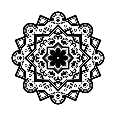 snowflake icon: Beautiful Deco Black monochrome Mandala, Patterned Design Element, Ethnic Amulet. Vector illustration
