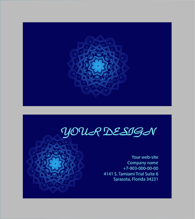 decoration: Set of business cards with dark-blue background for your design. Arabic mandala, vector illustration. Illustration