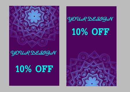 violet background: Set of business cards with violet background  for your design. Vettoriali