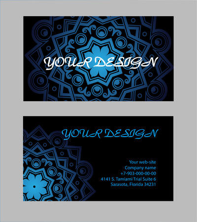 creation of sites: Set of business cards with black background  for your design.