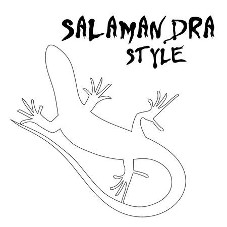salamander: Beautiful  monochrome lizard, lizard silhouette. outline picture salamander. Vector illustration Illustration