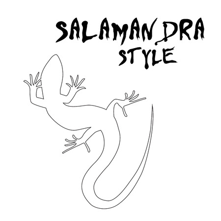 salamandre: Belle lézard monochrome, silhouette lézard. décrire image salamandre. Vector illustration Illustration