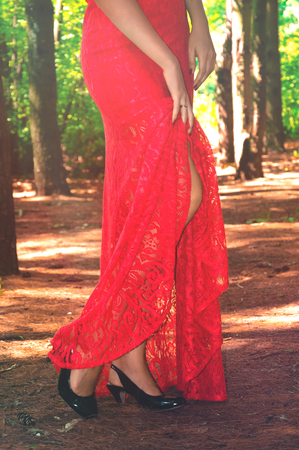 color model: Beautiful sexy woman in a  red lacy dress and black high heel shoes poses in the forest Stock Photo