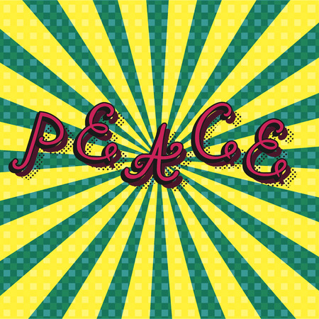 positive energy: bright background with a huge colorful letters. Peace in grunge style. Vector illustration