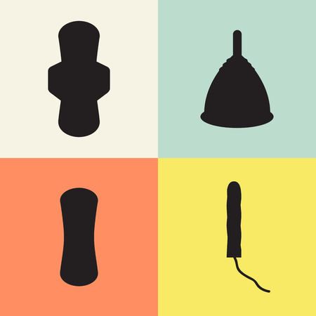 tampon: Pad, menstrual cup and tampon set. Image isolated on blue, yellow, white background. Vector illustration