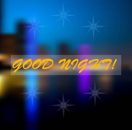 buonanotte: sfocatura luce in buona notte. luci della città. illustrazione vettoriale