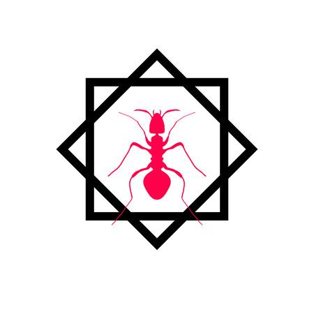 etymology: Red silhouette of ant, logo design. vector illustration