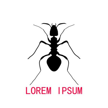 Black silhouette of ant, logo design. vector illustration Иллюстрация