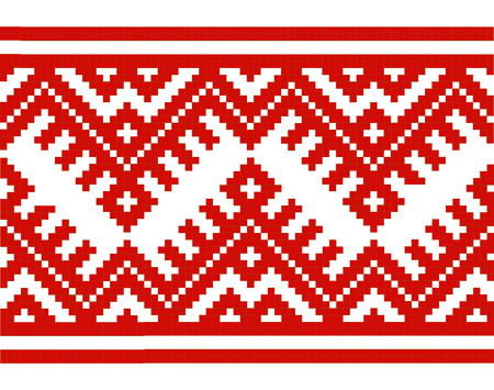 rushnik: embroidered good like handmade cross-stitch ethnic Ukraine seamless pattern. Vector illustration
