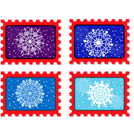 postmark: Christmas and new year stamp and postmark. Xmas stamps. isolated on white background. Vector illustration