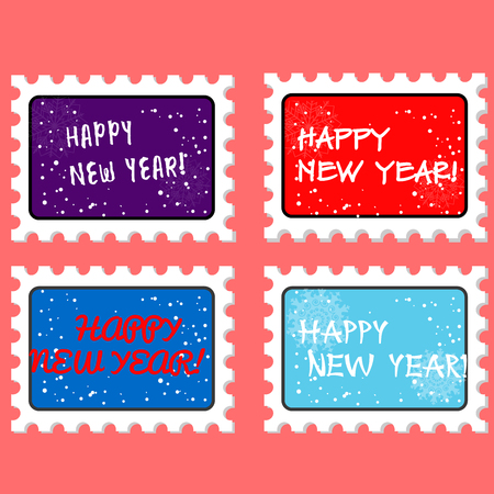 postmark: Christmas and new year stamp and postmark. Xmas stamps. on coral background. Vector illustration