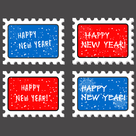 postmark: Christmas and new year stamp and postmark. Xmas stamps. on grey background. Vector illustration