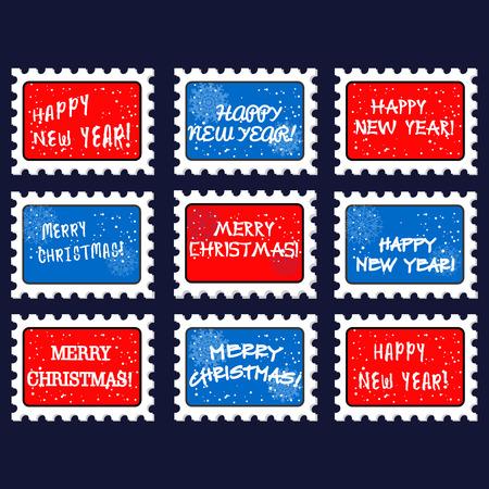 poststempel: Weihnachten und Neujahr Marke und Stempel. Weihnachtsmarken. auf dunkelblauem Hintergrund. Vektor-Illustration Illustration
