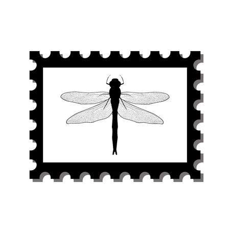 postage stamps: silhouette dragonfly on postage stamps. Dragonfly stamp isolated on white background. Vector illustration Illustration