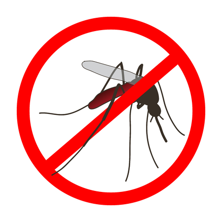 no mosquito: Anti mosquito sign with a realistic mosquito. Mosquito silhouette. Sign anti-Mosquito isolated  on white background. no mosquito. stop mosquito. Vector illustration
