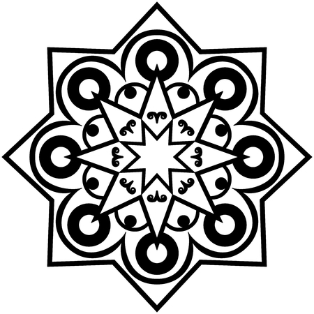arabic architecture: Vector graphic mandala isolated on white background. The stylized elements of Arabic  architecture. Sketch of tattoo.