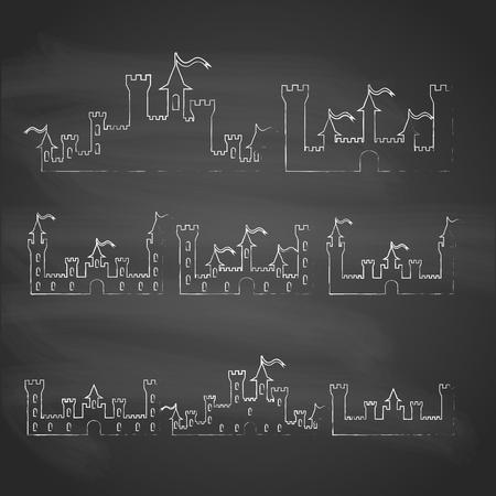 castillos: Juego de Fantasía castillos tiza siluetas para el diseño. Aislado en el fondo gris. Ilustración vectorial