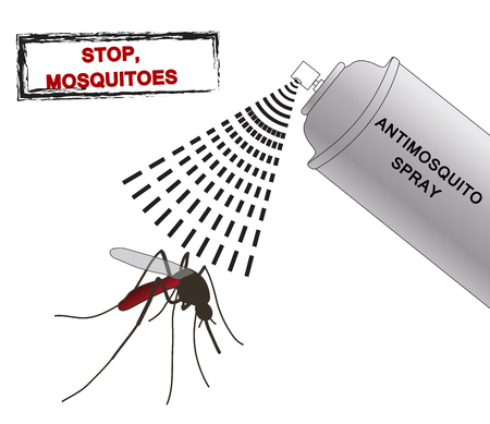 stop mosquito sign: spray anti mosquitoes illustration. Anti mosquito spray. silhouette mosquitoes. Mosquitoes spray isolated on white background. Vector illustration